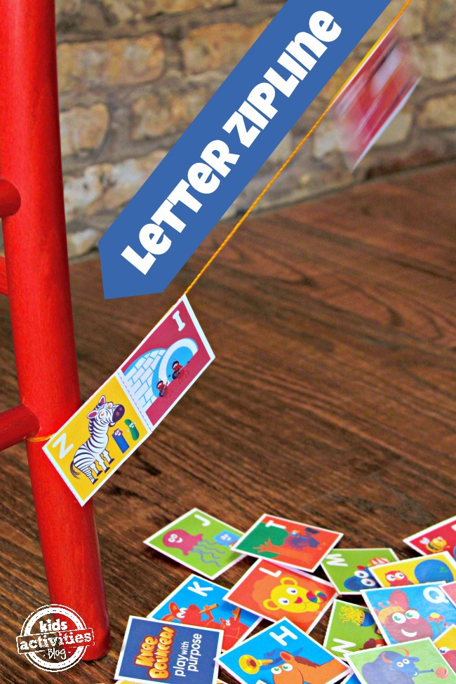 letter zipline with alphabet printable