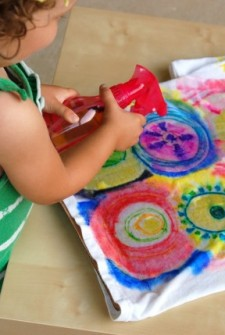 color spray science through art project for kids