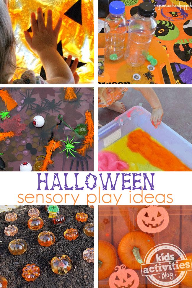8 activités sensorielles d'Halloween avec du papier, des bouteilles, des insectes en plastique, de la boue, de la boue et des citrouilles.