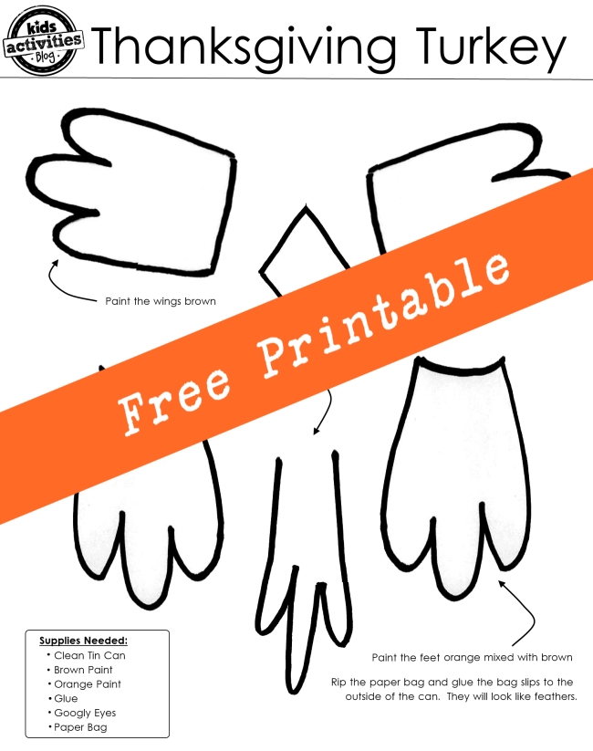 Thankful Turkey Craft with Free Printable