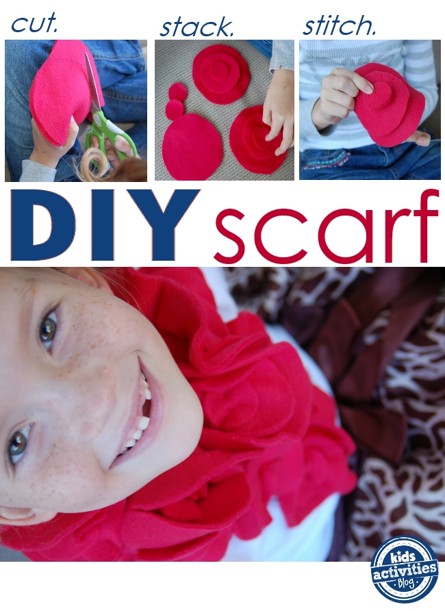DIY fleece scarf - easy enough for kids to make