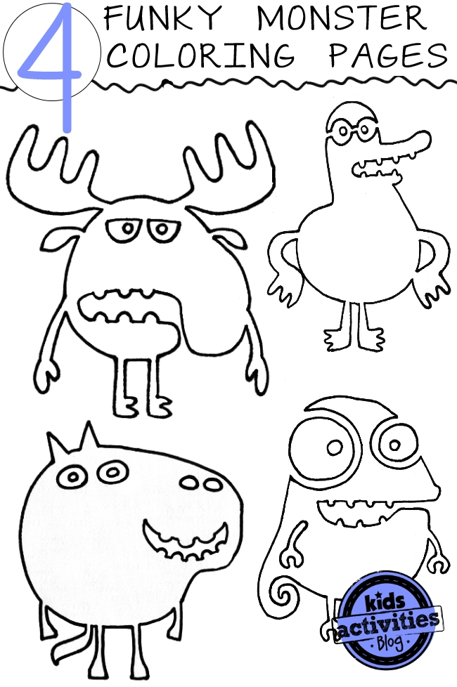 Coloring pages for kids - here are four free monster sheets