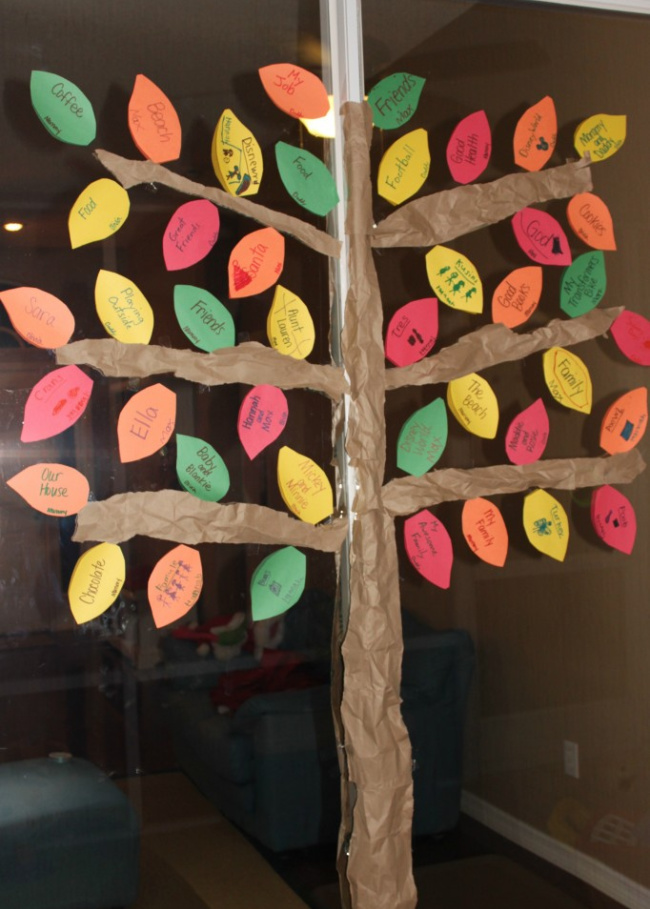 Thankfulness tree with red, yellow, green, and orange leaves with notes on them.