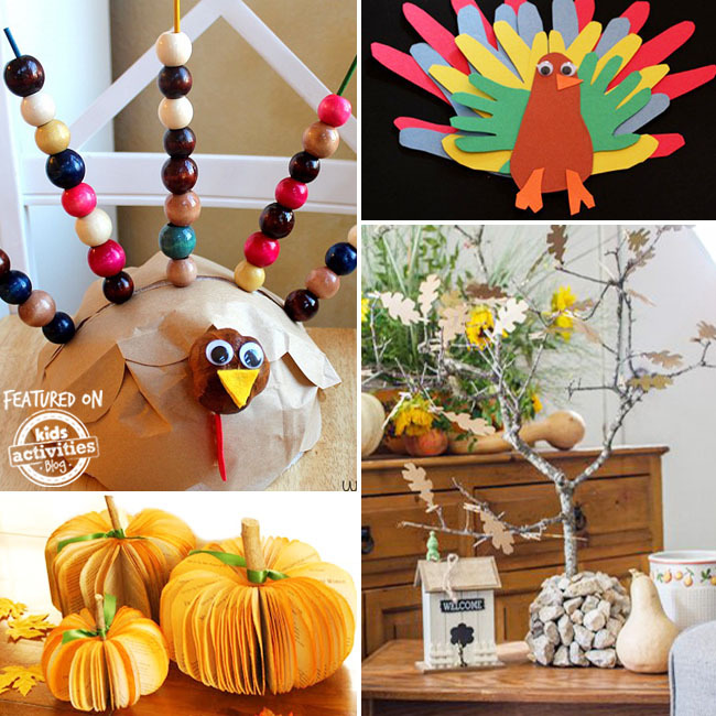thanksgiving activities for preschoolers with a brown paper turkey with beaded tail feathers, a turkey made out of hands cut out from construction paper, 3d paper pumpkin decor, and a tree with paper leaves.