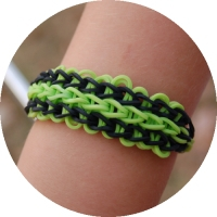 Minecraft inspired rainbow loom bracelet