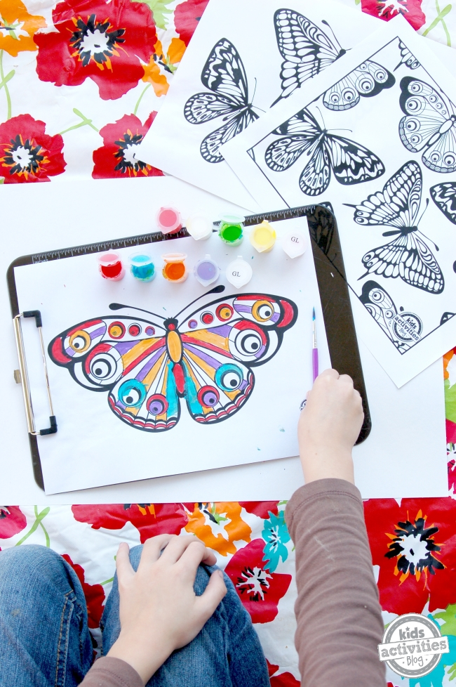 Butterfly Coloring page painted