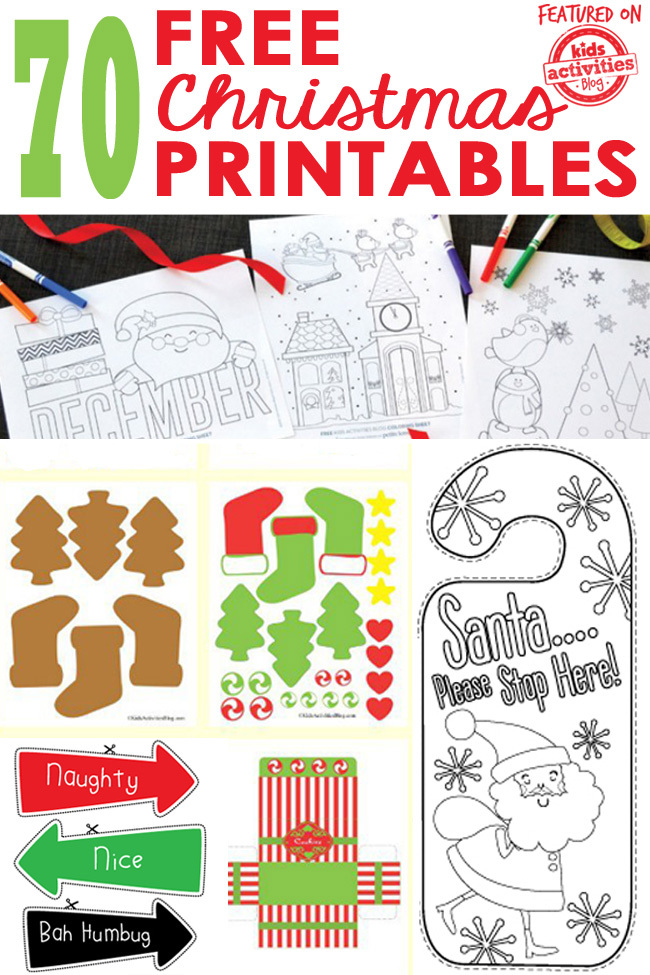 image relating to Printable Christmas Activities identified as 70 No cost Xmas Printables