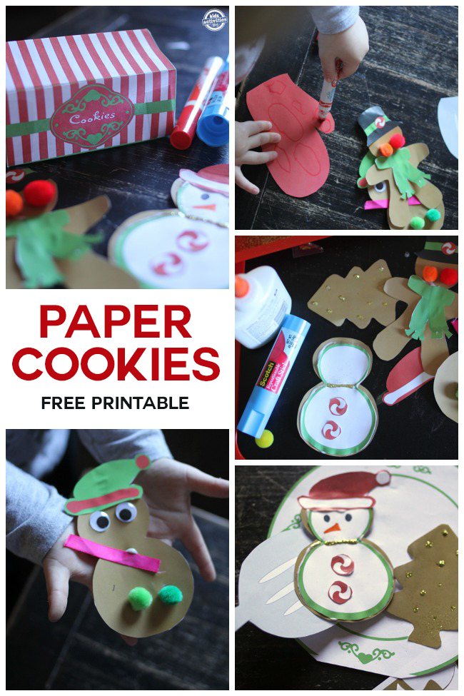More Christmas printables that include paper gingerbread cookies and snowmen.