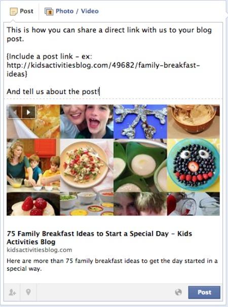 Post on FB wall