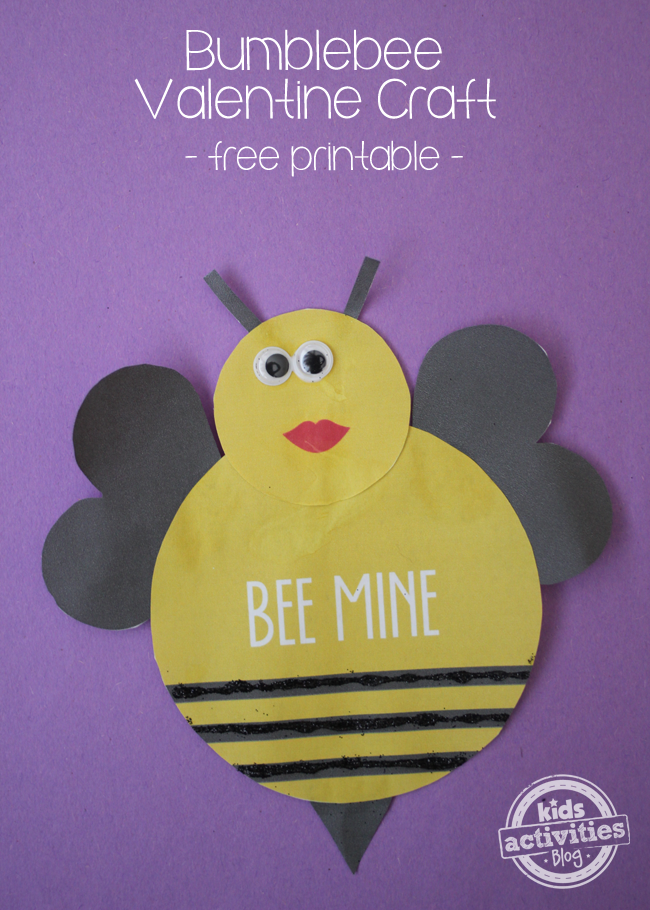 graphic relating to Printable Valentine Craft referred to as Valentine Craft Printable - Bee Mine! Create It With Your