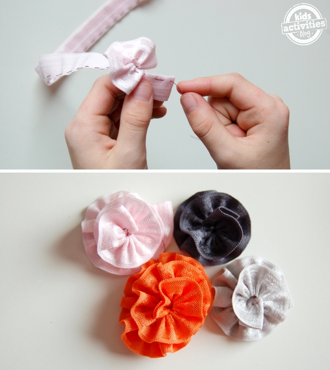 how to make ribbon flowers - easy steps - make loose stitches on one side of the ribbon, then pull thread to tighten and wind gathers into flower shapes and secure