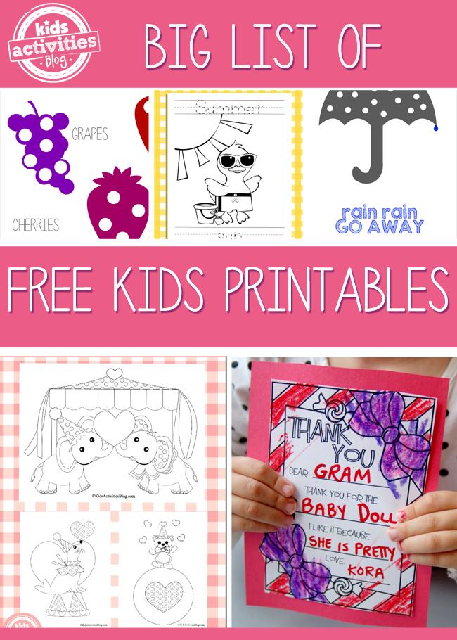 14 {Free} Kids Printables