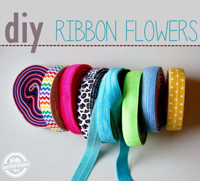 How to make ribbon flowers - easy way to make DIY ribbon flowers shown is a 8 different kinds of ribbon from polka dot to rainbow stripes