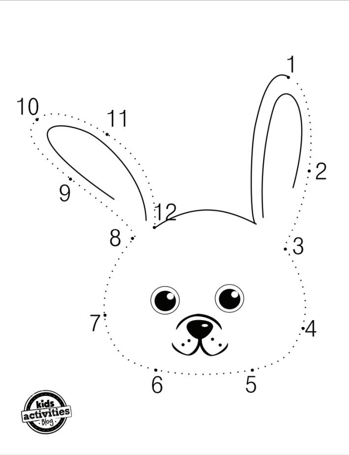 Lapin gratuit point à point 1-12 pour les enfants - Blog d'activités pour enfants - version pdf gratuite du lapin point à point qui se transforme en lapin à colorier