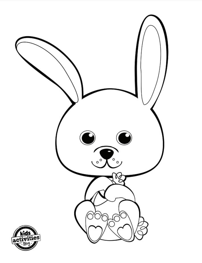 Coloriage de lapin mignon gratuit pdf - Blog d'activités pour enfants - capture d'écran pdf de la page de coloriage de lapin pour les enfants
