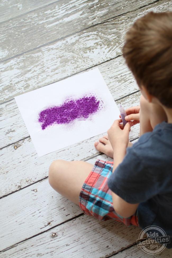 Glitter applied to glue - Kids Activities Blog