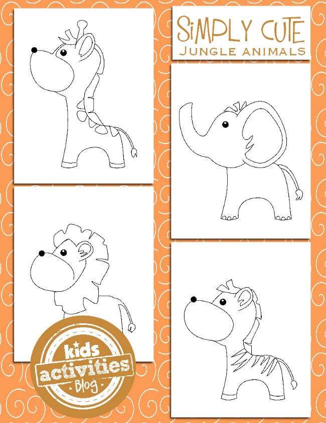simple jungle animal coloring pages - photo#24