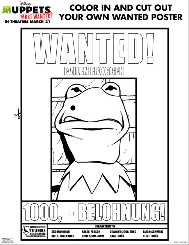 Kermit Wanted Poster Coloring Page - Kids Activities Blog