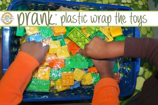 prank idea - plastic wrap toys
