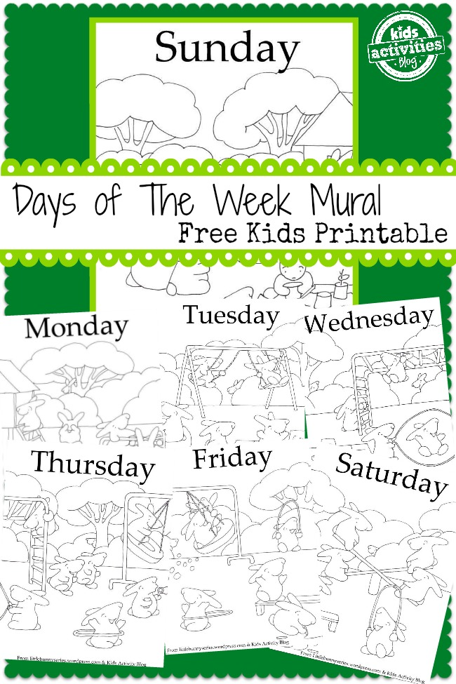 7 days a week mural free kids printable from kids activities blog