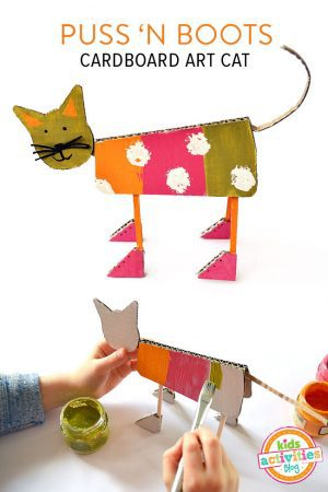 cardboard art cat by Michelle McInerney of MollyMooCrafts.com for KidsActivitiesBlog