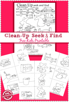 Clean up seek and find kids printable