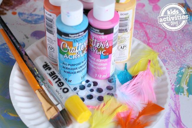 supplies for paper plate bird craft