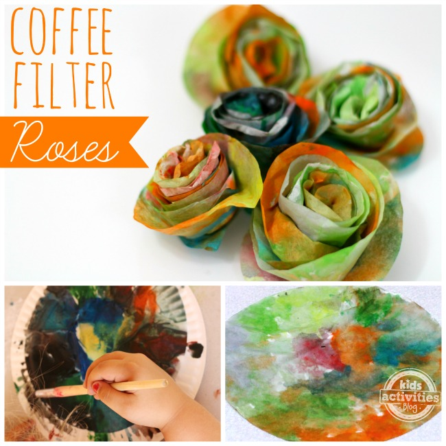 painting ideas for kids - coffee filter roses