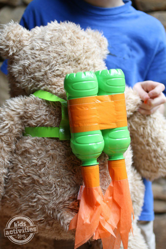 bear jet pack made from Fruit Shoot bottles