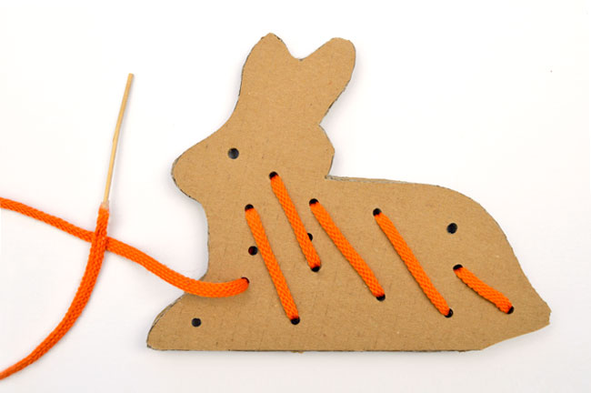 cardboard bunny sewing card free printable