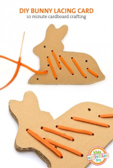 DIY cardboard bunny lacing card