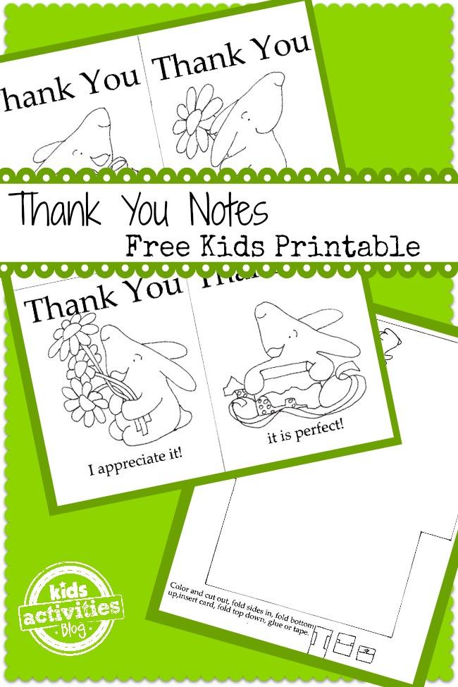 Bunny Thank You Notes Free Printable – Printable Thank You Note