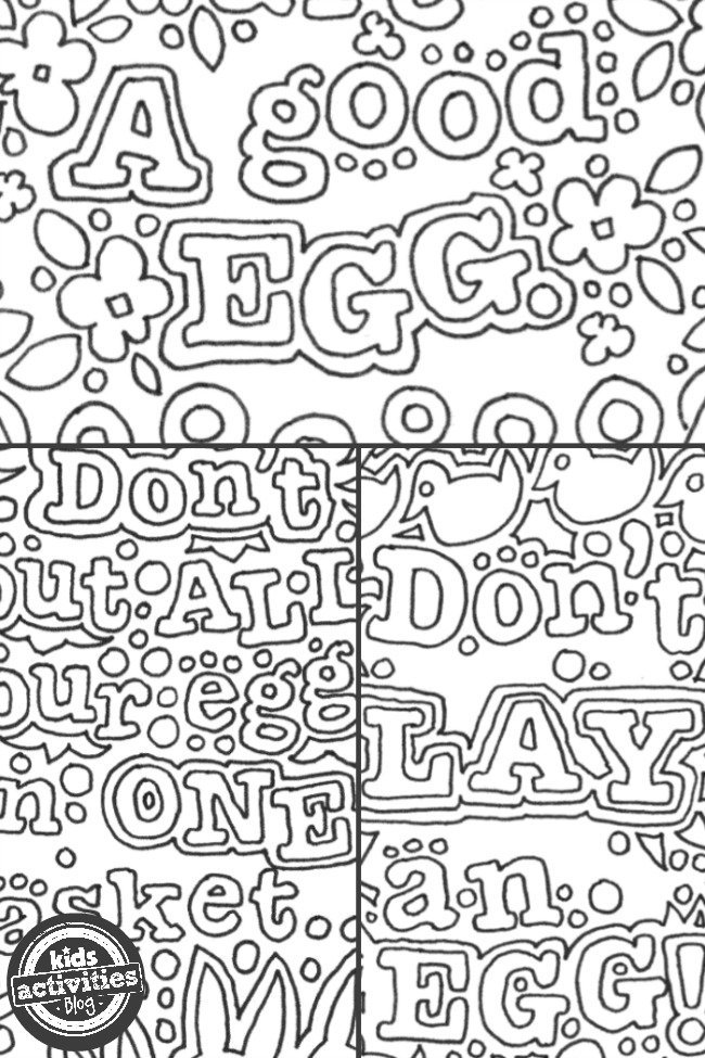Free Printable Download Doodle Easter Egg Idioms