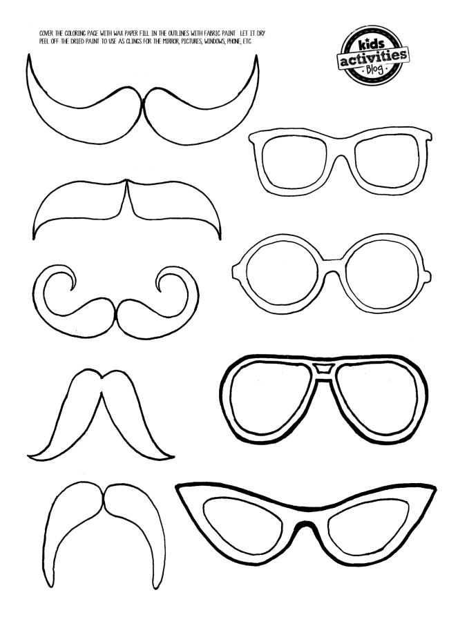 Mustache and Eye Glasses printable