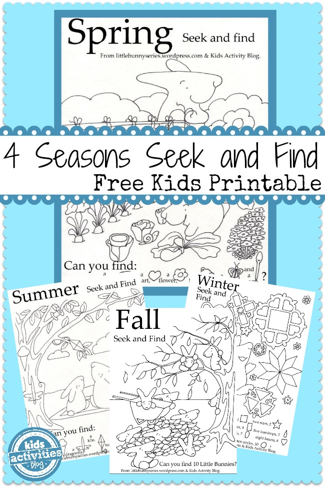 ... cute free kids printable seek and finds from the Little Bunny series