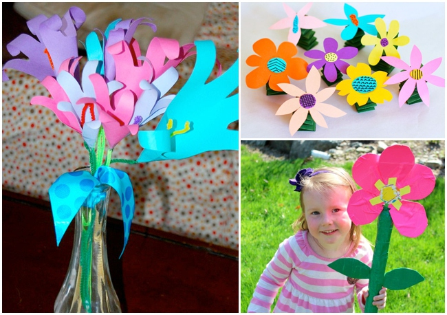 21 flower crafts for kids to make for Mother's day by Michelle McInerney of MollyMooCrafts.com for KidsActivitiesBlog