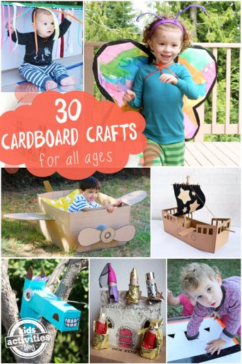 30 cardboard box crafts curated by Michelle McInerney of mollymoocrafts.com for KidsActivitiesBlog