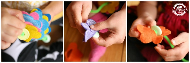 Kids threading felt flowers on to pipe cleaners