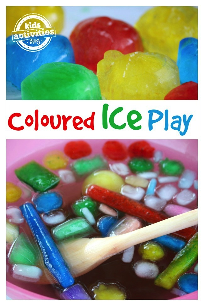 Coloured Ice Activity Bin - colored ice cubes floating in water and how to make colored ice cubes from Kids Activities Blog