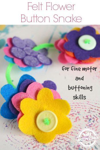 Felt Flowers Button Snake