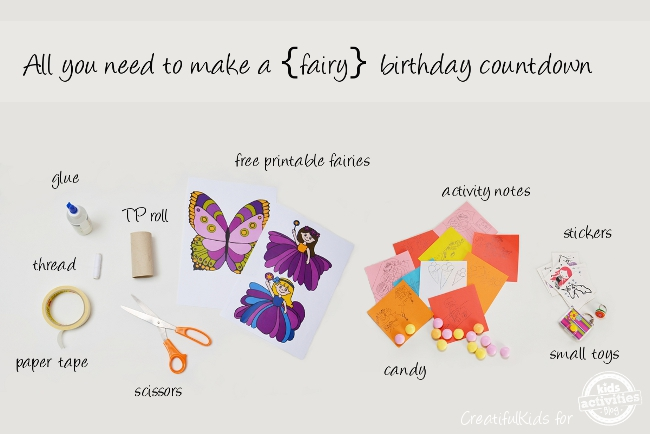 Supplies for making a fairy birthday countdown for kids