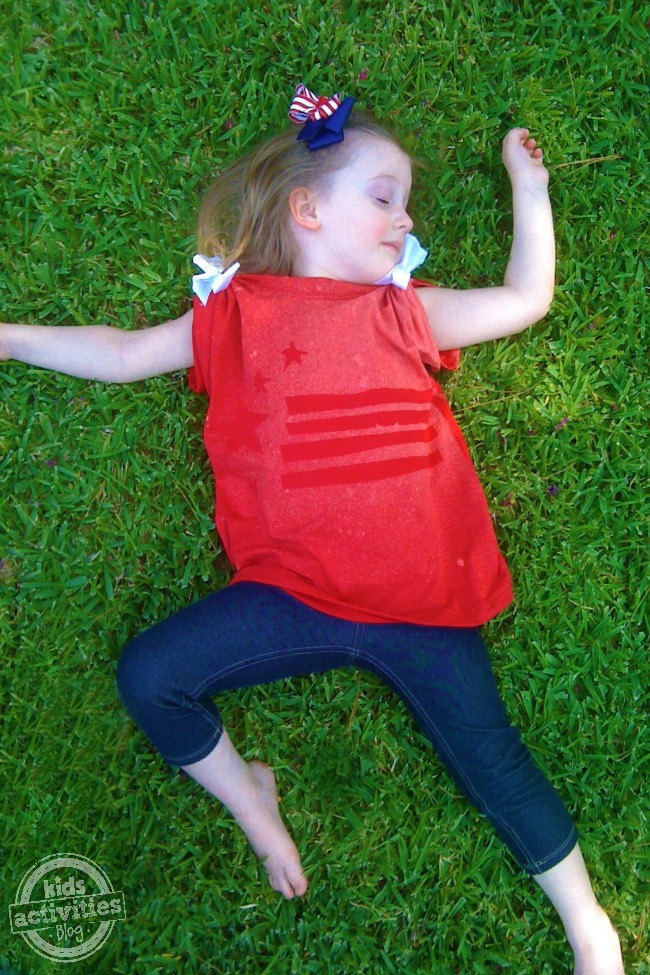 Patriotic Bleach Resist t-shirt - Kids Activities Blog