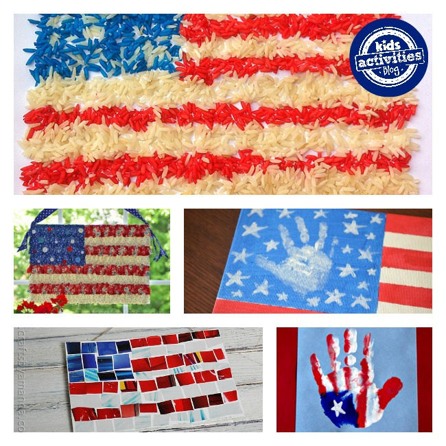 US Flag painting using handprints, paper, and rice.