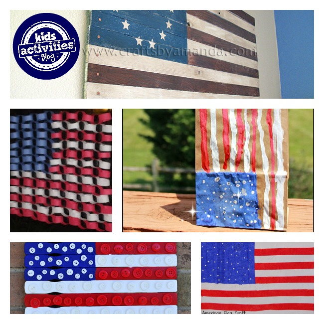 American flags for kids using wood, paper, paint, and buttons.
