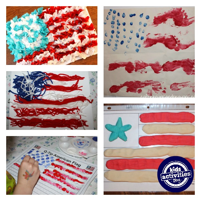 American flag crafts using playdough, paint, yarn, and more.