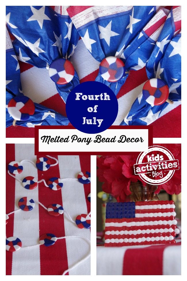 Fourth Of July Melted Pony Bead Decor