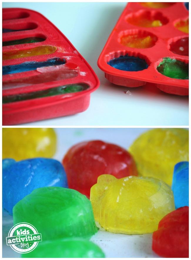 frozen coloured ice for activity bin