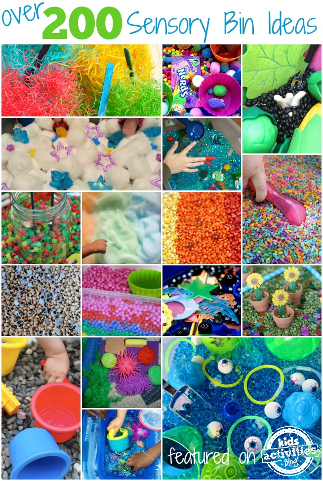Over 200 sensory bin ideas collage with fuzzy material and popsicle sticks, nerds and other candy, uncooked beans and felt pieces, cotton balls and plastic stars, gel balls, sprinkles, foam soap, beads, googly eyes and uncooked beans, plastic balls, rocks, and rubber toys.