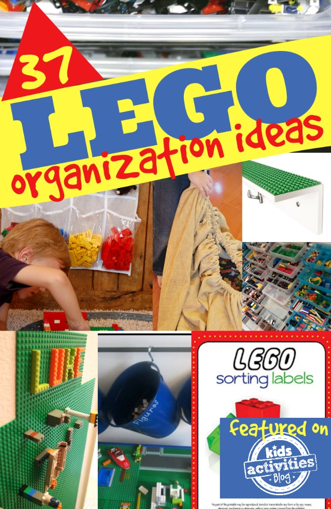 37 LEGO Organization Ideas with shoe storage holding LEGOS, lego wall mats, buckets full of legos.
