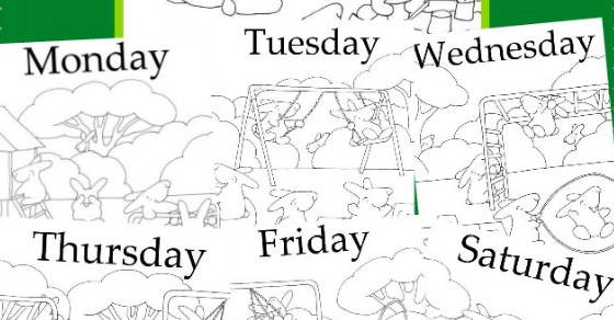 photo about Printable Mural named Times of The 7 days Mural No cost Little ones Printable!